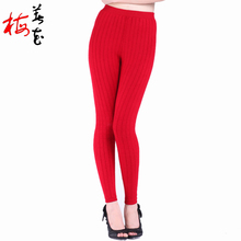 More Thick thermal underwear Cashmere Skinny leggings 2-layers warm underwear Wool Warm pants women clothing sous pull femme(China (Mainland))