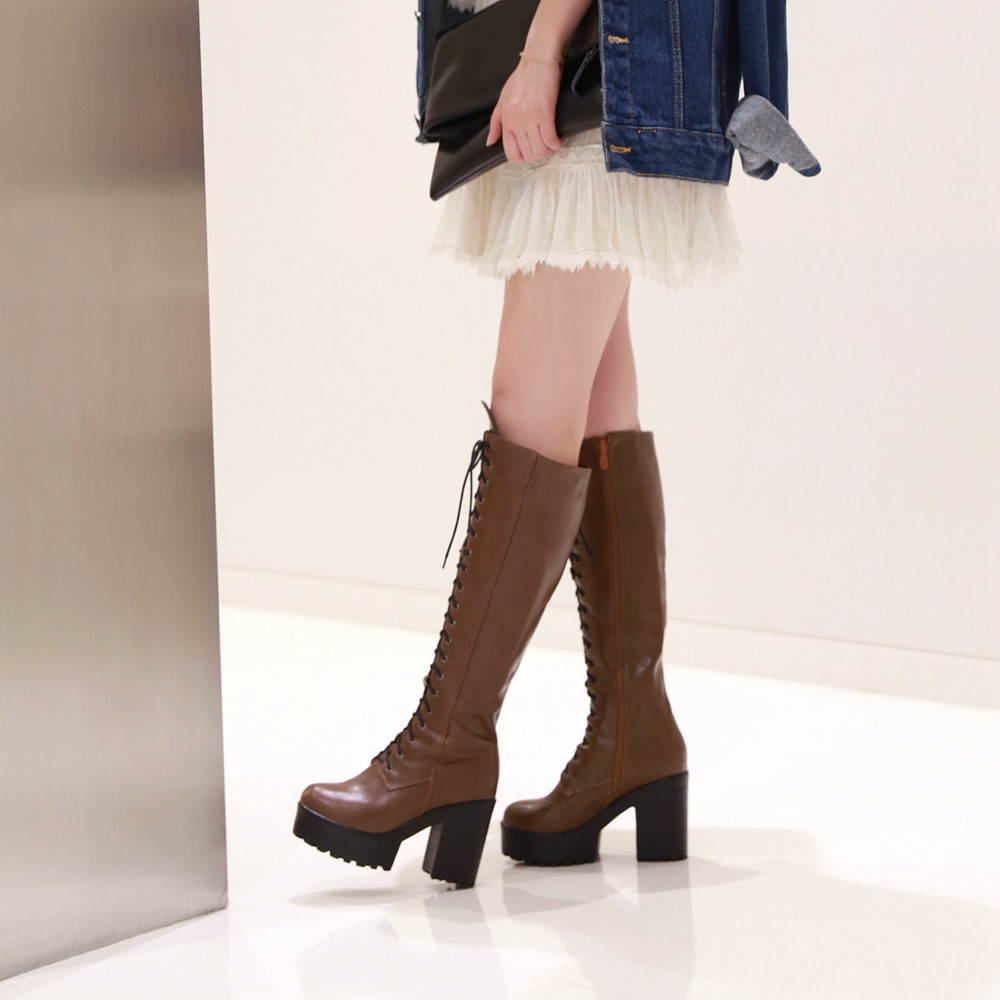 plus size 34 43 high quality lace up knee high