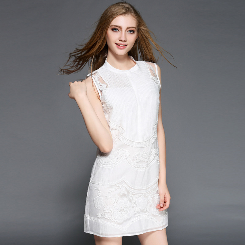 Fashion heavy creases font embroidery a slim dress t