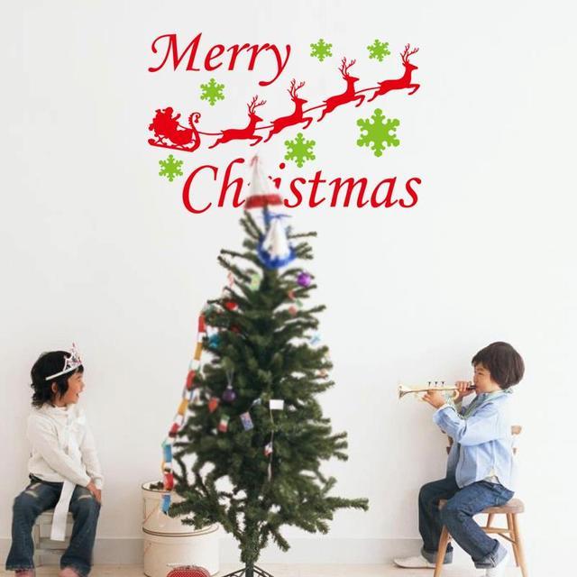 Винил рождеством стена наклейки домашнее украшение оленей стена отличительные знаки орнамент 3d винил стена наклейки xmas26