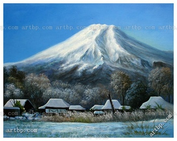 Hand Painted Landscape Art Oil Painting Scenery Fuji Mountain Film For Wall Wall Frame Decorative Lover Wall Art Handmade No P