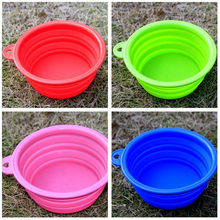Free Shipping Dog Cat Pet Portable Silicone Collapsible Travel Feeding Bowl Water Dish Feeder