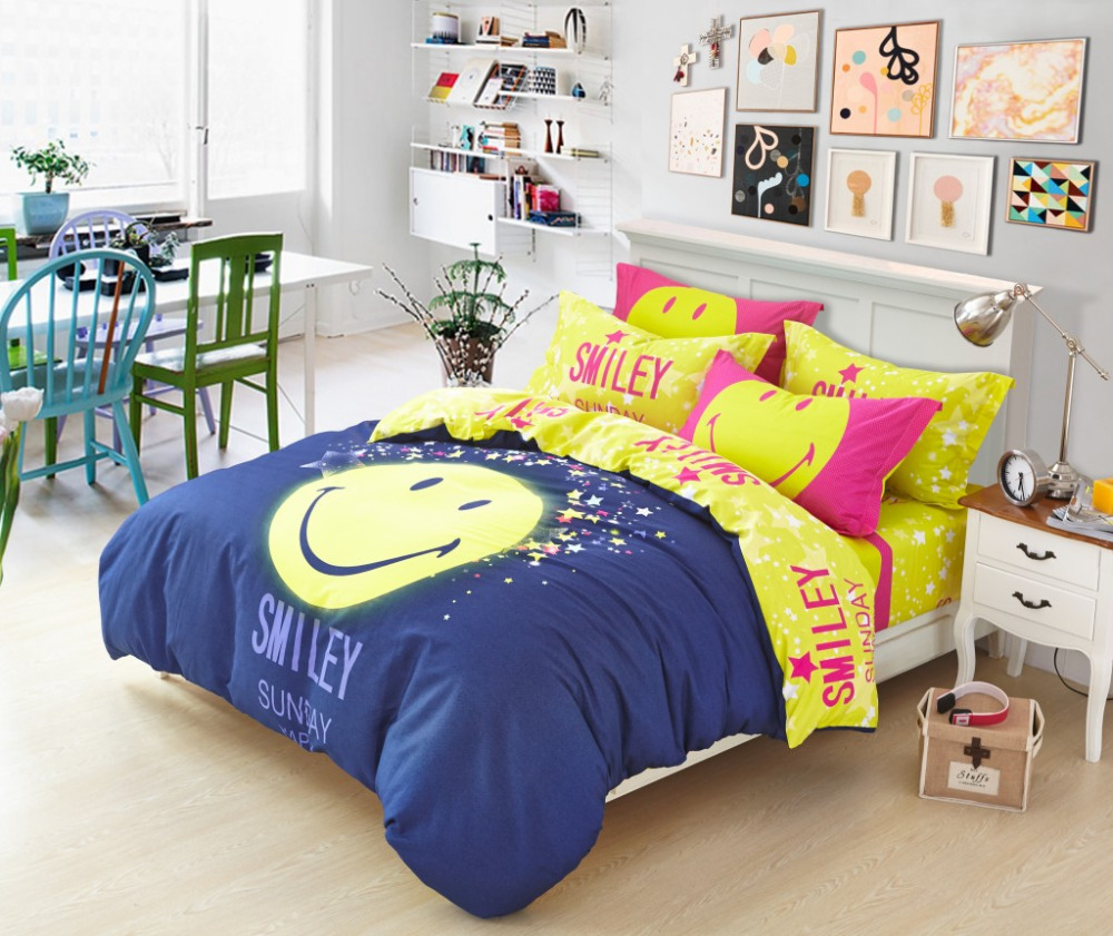 ikea yellow duvet chambre scandinave jaune housse couette smiley tie dye jersey comforter and. Black Bedroom Furniture Sets. Home Design Ideas