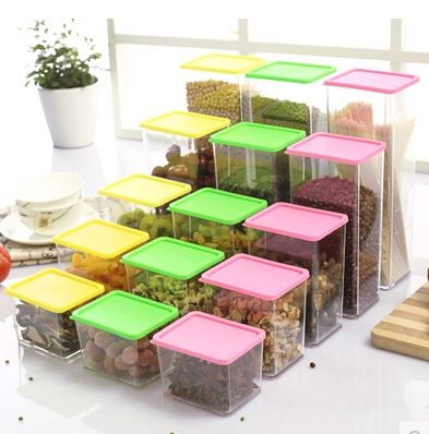 Food Container Storage Box Stackable plastic kitchen lid Canister Canister grains zero refrigerator cabinet food storage box(China (Mainland))