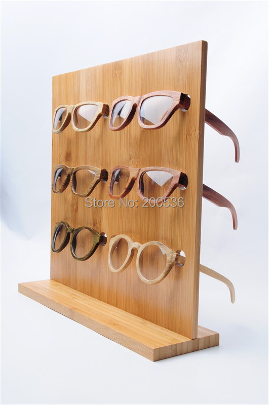 Bamboo Fashion sunglasses display racks glasses Display Stand 6 pairs of glasses frame stand display shelf(China (Mainland))