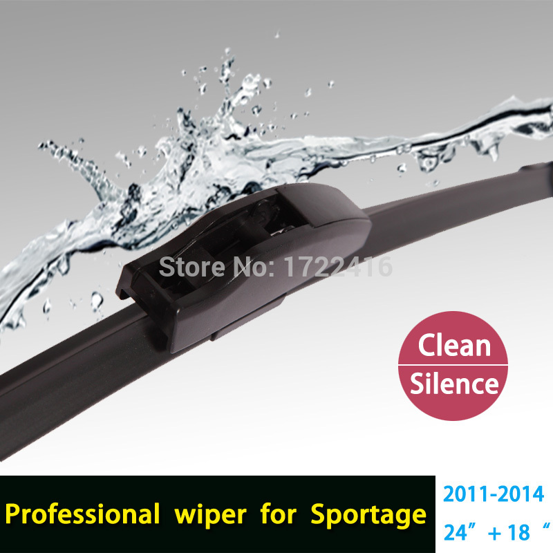 """Car windshield wiper blade for KIA Sportage, 24""""+18"""" , natural rubber, bracketless, car accessories HY-002(China (Mainland))"""