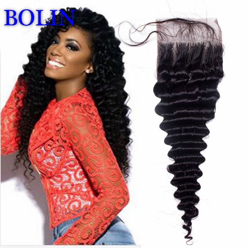 Гаджет  Retail Brazilian Deep Wave Closure Middle Parted Top Lace Closure Naturcl Color 8 To 20 Inch 4*4 Best Price  None Волосы и аксессуары