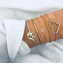 בוהמי כסף חרוזים שרשרת צמידי צמידים לנשים אופנה לב מצפן זהב צבע שרשרת צמידי סטי תכשיטי מתנה(China)