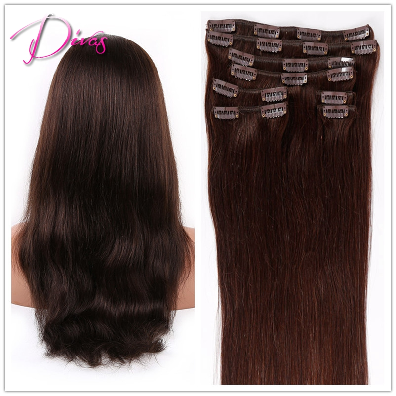 Wholesale Clip in Human Hair extension #2 Best Selling Clip Hiar In Stock Natural Straight Clip in Hair Extension <br><br>Aliexpress