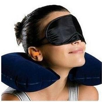 Free shipping Travel Kit Set 3-In-1 Neck/Air Pillow Ear Plug/Eye Mask #1023