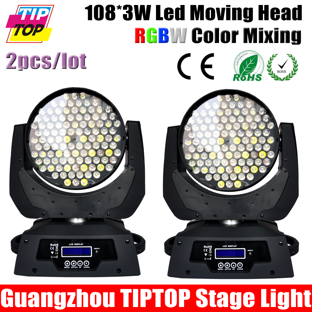 2pcs/lot 108pcs*3W Led Moving Head Wash With Low Noise High Quality RGBW Led Moving Head Light New Design DMX LED Moving Head(China (Mainland))
