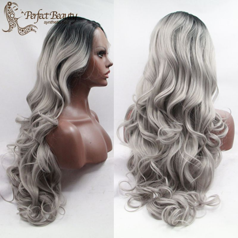 Ombre Hair Wig with Grey Lace Front Wavy Wig Cheap Synthetic Long Wig Heat Resistant Black to Grey Ombre Wig<br><br>Aliexpress