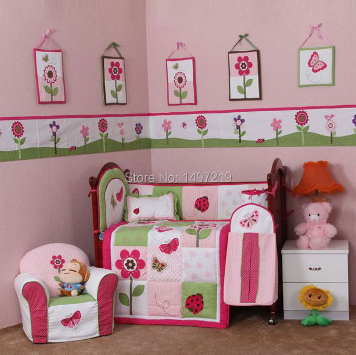 PH029 pink child crib linen set (1)