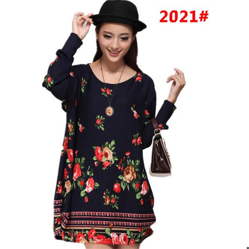 Summer dress Women's large size new women's fashion dress loose long-sleeved T-shirt Women's clothing factory outlet B071(China (Mainland))