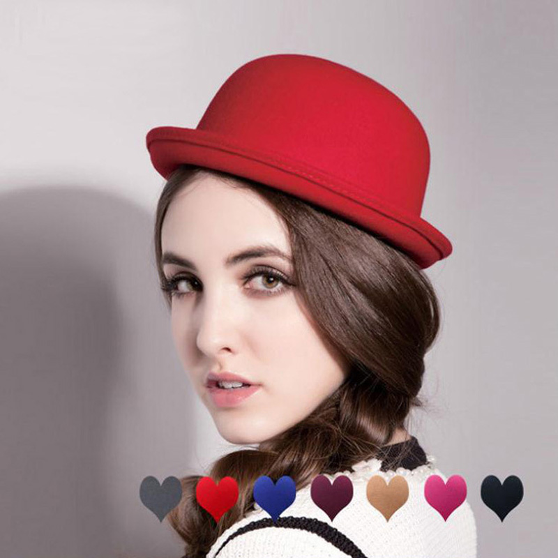 2015 Fashionable Vintage Elegant Hats for Women Lady Cute Bowler & Derby Woolen Fedora Bowlers Hat Cap Hats Caps Women Z-1052(China (Mainland))