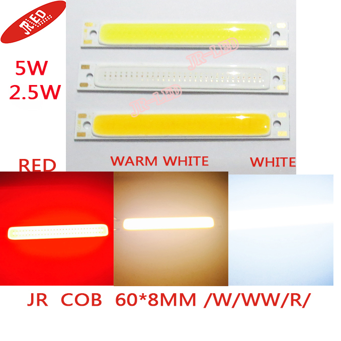 5PCS Red /warm white/white/Blue Color LED COB Source Bar chip diodes2.5W / 5W LED COB strip beads low voltage 3V For DIY light(China (Mainland))