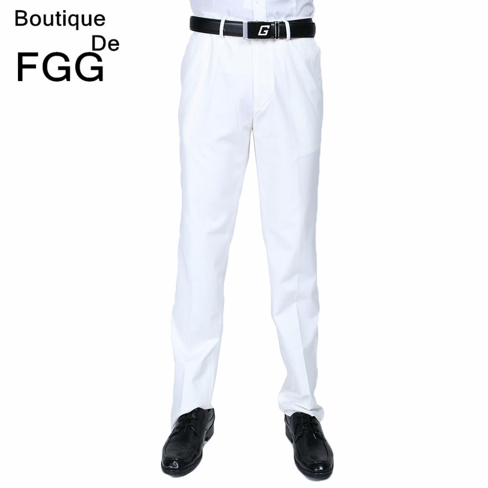 Wedding Dress Straight Groom White Pants Party Prom Men Elastic Waist Business Formal Trousers Pantalones Blanco Free Shipping(China (Mainland))