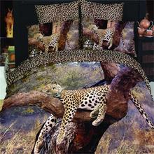 Buy 3D Oil Painting Animal Tree Leopard Print Bedding Set Queen Size 100% Cotton Duvet Cover Bed Sheet Pillowcase Bed Bag 4pcs for $74.48 in AliExpress store