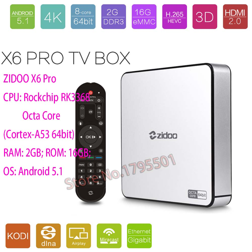 ZIDOO X6 Pro Octa Core Smart Android 5.1 TV Box HD 4K 3D 2GB / 16GB H8 M8S Network Media Player HDMI 2.0 Bluetooth 4.0 Dual WiFi(China (Mainland))