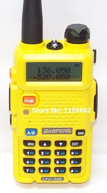 2pcs Baofeng UV5R interphone, yellow color, 136-174 MHz & 400-520 MHz, UV-5R transceiver, for ham,hotel,commercial,security use(China (Mainland))