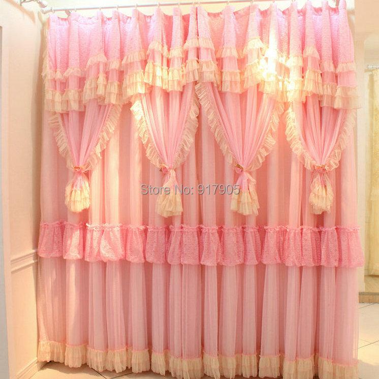 Princess Girls Room Valance Cutains Amazom: Luxury Korean Lace Ruffled Children's Curtain Princess