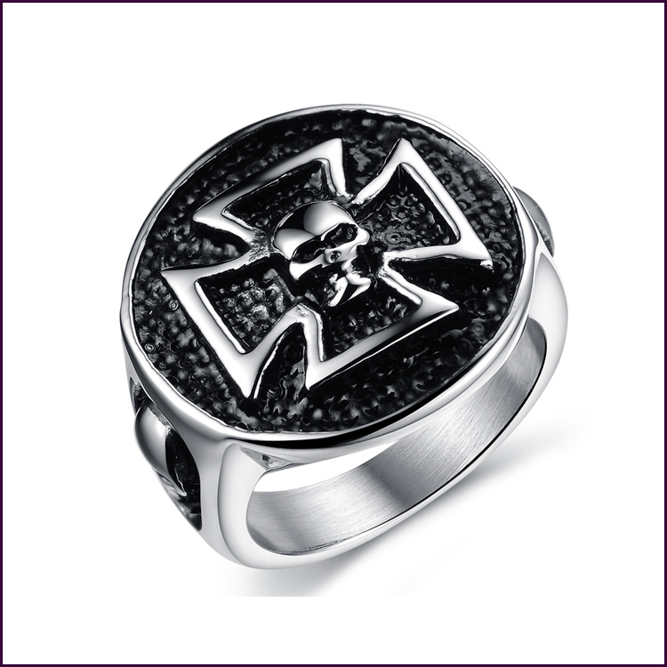 SI New Listing Black Titanium Male Ring 316L Titanium Steel Skull Rings For Men High Quality Jewelry Free Shipping JT0020G(China (Mainland))
