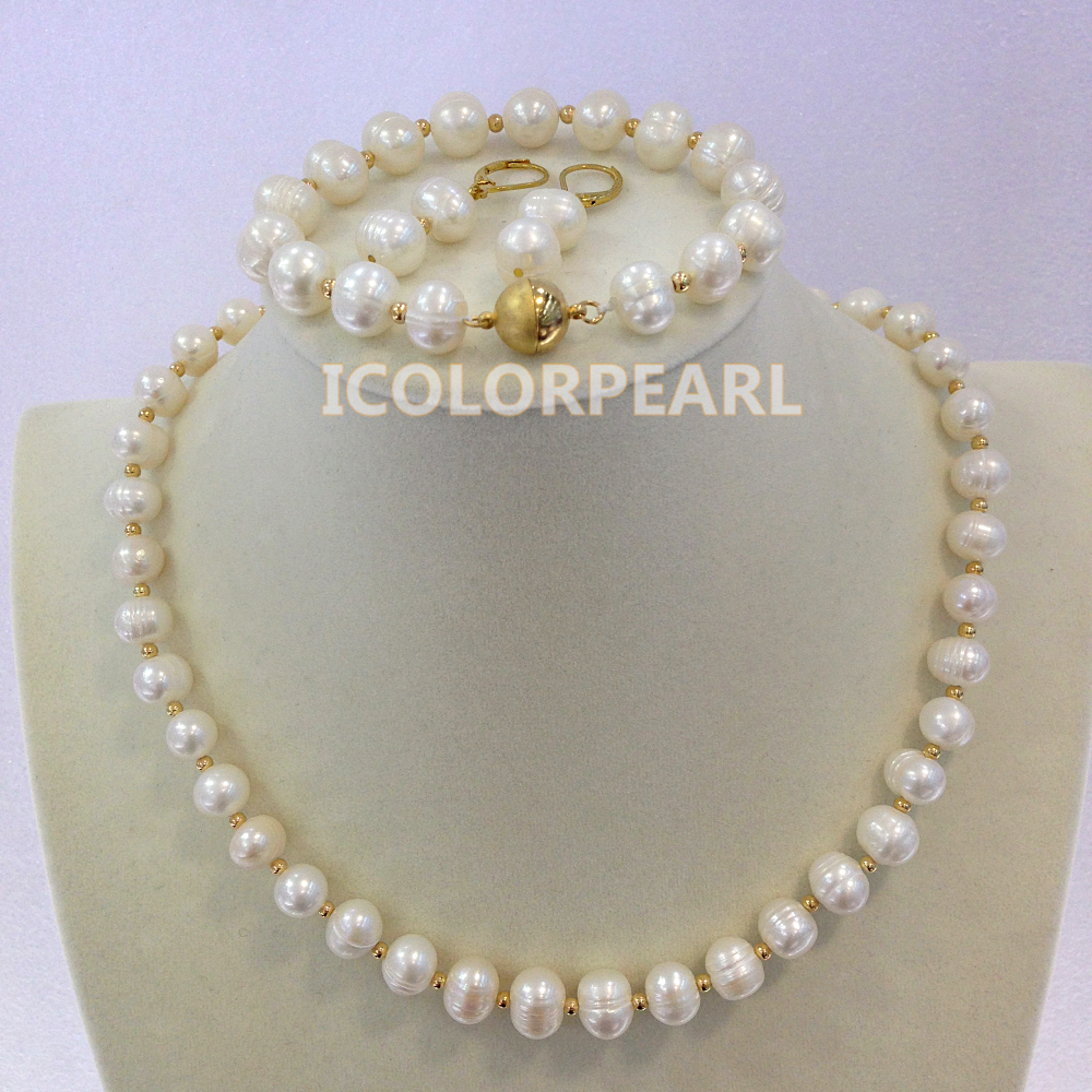 Wholesale Price For 9mm White Real Natural Freshwater Pearl And 14K Gold Plated Bead Jewelry Set. <br><br>Aliexpress