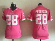 Women ladies all stitched PINK love Minnesota Vikings #5 Teddy Bridgewater 28 Adrian Peterson(China (Mainland))