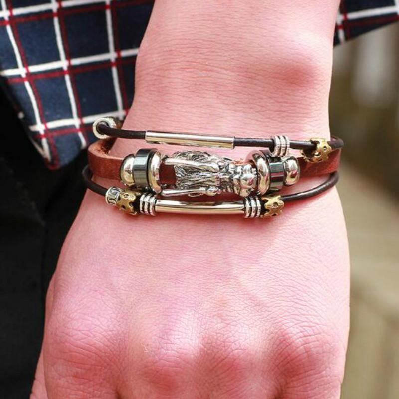 Hot Ethnic Chinese dragon Multilayer Leather Bracelet Men Clasp bijoux pulseras Vintage Punk Fashion Jewelry Men Accessory Gift(China (Mainland))