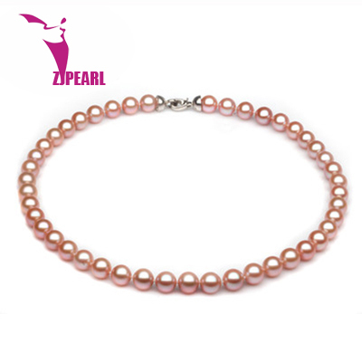 ZJPEARL free Shipping fashion necklaces for women 2014 Natural pearl necklace 7-8mm 925sterling silver Freshwater Pearls jewelry