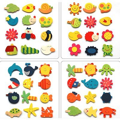 4 sets/lot-Wood Baby Children's Early Learning creative gifts educational toys /magnetic stickers /Safe wooden fridge magnets
