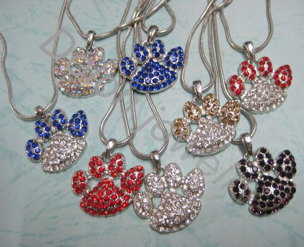 3cm Paw Pendant Snake Chain Necklace Animal Dog or Cat Paw Print Jewelry Mix Colors Free
