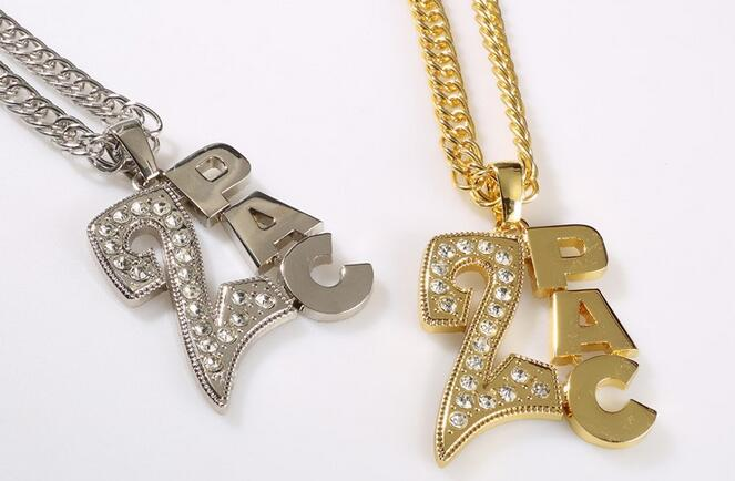 Fashion Cool Men's Necklace Trendy Hip Hop Jewelry Shiny Crystal 2PAC Letters Pendant Zinc Alloy Punk Rock Necklaces 2015(China (Mainland))