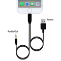 Leebote 2 in 1 3 5mm Jack Audio AUX Cable and USB Charging Cable for iPhone