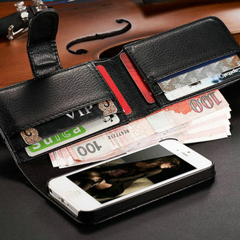 With 7 Card Slot Book Style Leather Case for iPhone 5 5S Mobile Phone Back Cover Luxury Flip Style