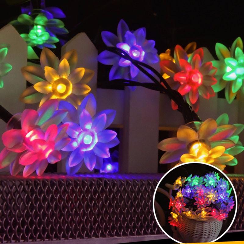solar LED lotus light string-8