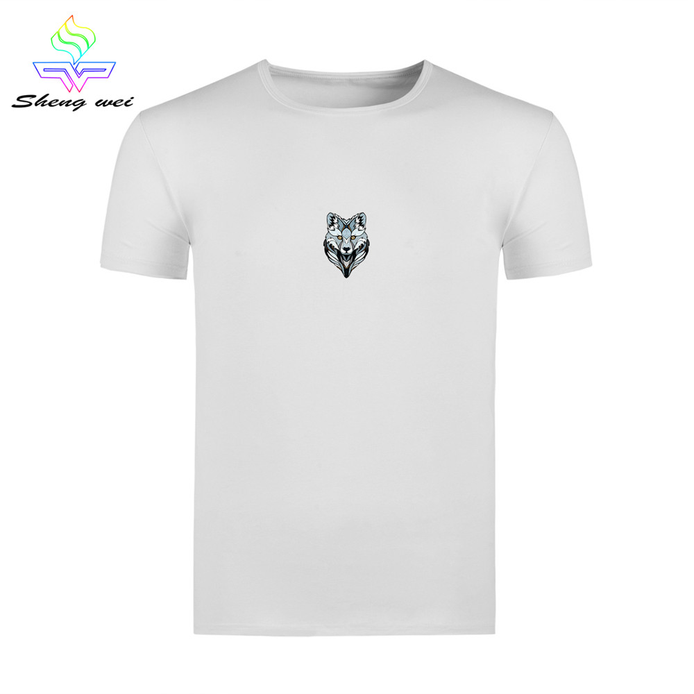 Cool Animal 3D Printed Men's T-shirt Tops Tees O-Neck White Short Sleeve Cotton Running Hip Hop Outdoor Sports Wolf Clothing(China (Mainland))