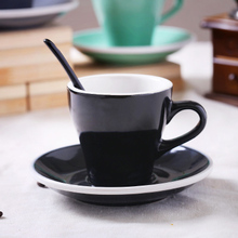 Cermaic Teacup and Saucer Coffee Cup set Milk With Dish Spoon Mint Grey Black White Plain
