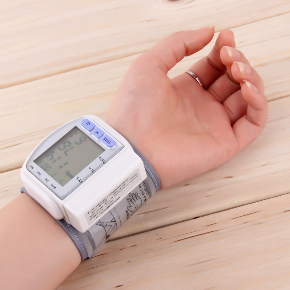 High Quality Digital LCD Automatic Wrist Blood Pressure Monitor Heart Beat Rate Pulse Meter Measure
