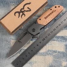 BROWNING X28 Knife Carbon Fiber + Wood Handle 3Cr13Mov 57HRC Blade Utility Folding Pocket Knife Browning Camping Knives(China (Mainland))