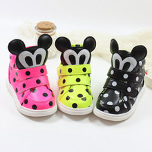 Hot sales 2015 fall children's wave point cartoon Mickey head casual single Boots Free Shipping(China (Mainland))