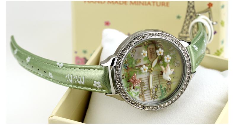 Handmade 3D POLYMER CLAY M:N: Korea Mini Diamond ladies Watch Women Dress quartz watches Relogio hot selling- flying bird