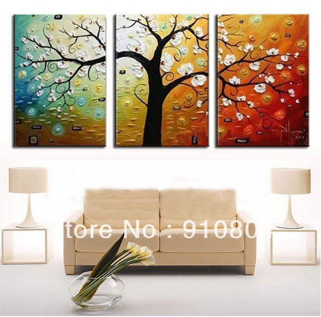Framed 3 panel large 3 panel canvas art money tree for 3 panel wall art