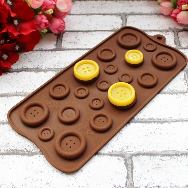 1Pcs Button Shape Silicone Chocolate Cookies Cake Jelly Pudding Mold 3D Cute Cake Decoration Tools Kitchen Ice DIY Mould Trays(China (Mainland))