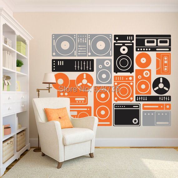 Wall Art Stickers Custom : Cm extra large music equipment wall art decor