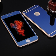 Front+Back Mirror Effect Colorful Electroplating Tempered Glass For iPhone 6 6s 4.7 inch Screen Protector Film With LOGO Hole