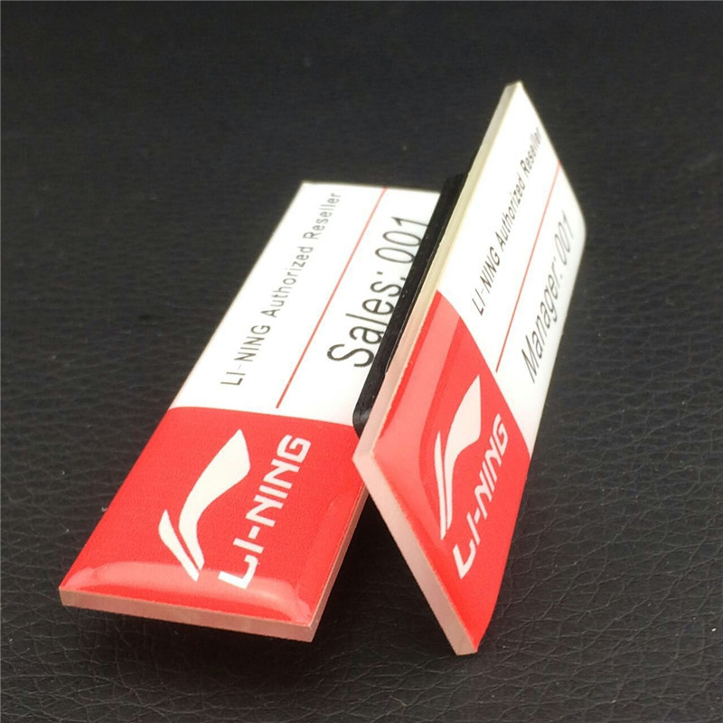 10pics/lot strong magnet epoxy surface customized logo/bottom color reusable name badge/tag with best price(China (Mainland))