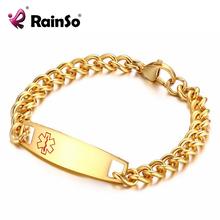 RainSo ID Браслет Из Нержавеющей Стали Позолоченные Медицинский ID Браслеты для Мужчин Женщин Бесплатно Настроить ID Имя(China (Mainland))