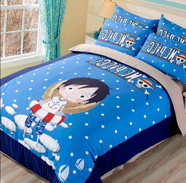 One piece anime queen boys bedding set quilt cover with fitted sheet orange Kids bedding set duvet cover bed sheet set boys(China (Mainland))