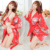 3 pcs Women Lingerie Sets Floral Bra+Thongs G-string+Kimono+Belt Nighdress Babydoll